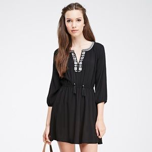 Forever 21 embroidered black peasant dress